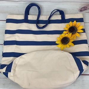 Large Oversized Blue Striped Canvas Beach Tote Bag